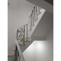 2017新款欧式风格铁艺实木楼梯玻璃楼梯实木扶手钢木楼梯